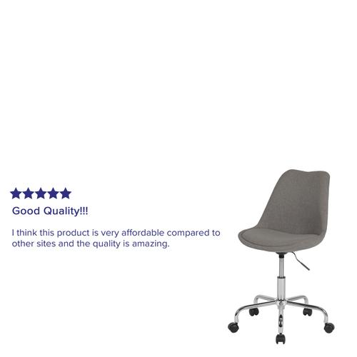 Gallery - Aurora Series Mid-Back Light Gray Fabric Task Office Chair with Pneumatic Lift and Chrome Base