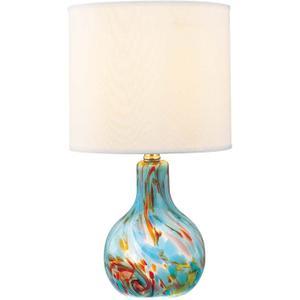 Table Lamp, Aqua Glass Body/fabric Shd, E27 Cfl 11w&e12 C 7w