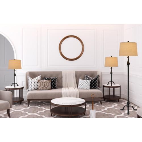 3 pcs package. 2 pcs of 150W 3 way adjustable metal table lamps. 1 pc of 150W 3 way adjustable metal floor lamp.