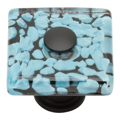 Marine Glass Square Knob 1 1/2 Inch - Matte Black