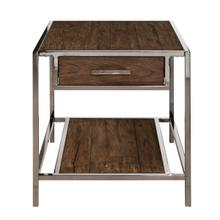 Modern Industrial-Style Wood and Metal End Table