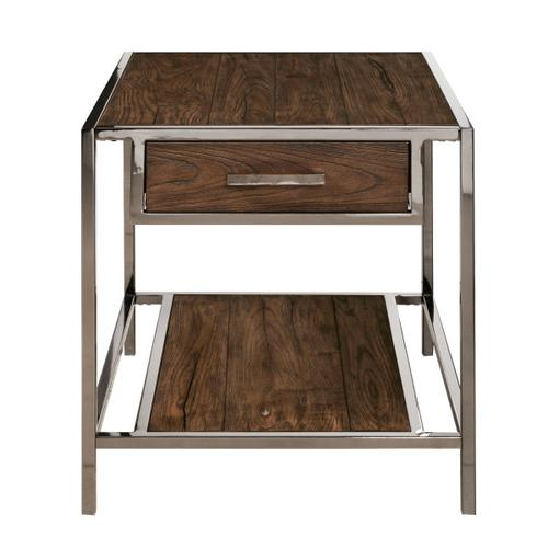 Accentrics Home - Modern Industrial-Style Wood and Metal End Table