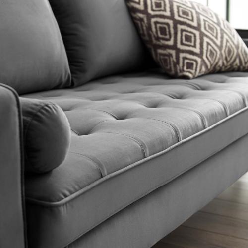 Valour Performance Velvet Sofa in Gray