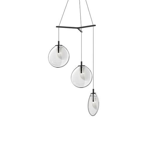 Sonneman - A Way of Light - Cantina LED Pendant [Size=Medium 3-Light Tri-Spreader, Color/Finish=Satin Black w/Clear Glass]