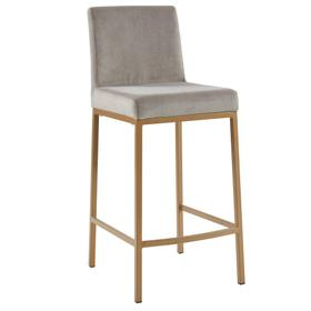 Diego 26'' Counter Stool, set of 2 in Grey/Gold Legs