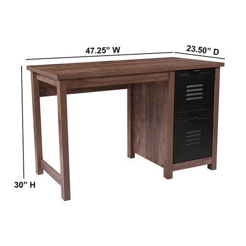 Flash Furniture - New Lancaster Collection Crosscut Oak Wood Grain Finish Computer Desk with Metal Drawers