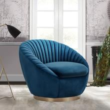 See Details - Mitzy Navy Velvet Swivel Accent Chair with Gold Base