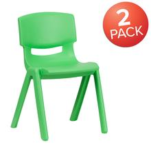 "2 Pack Green Plastic Stackable School Chair with 13.25"" Seat Height"