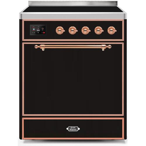 Majestic II 30 Inch Electric Freestanding Range in Glossy Black with Copper Trim