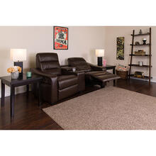 See Details - Futura Series 2-Seat Reclining Brown LeatherSoft Theater Seating Unit with Cup Holders