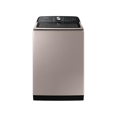 Samsung - 5.1 cu. ft. Smart Top Load Washer with ActiveWave™ Agitator and Super Speed Wash in Champagne