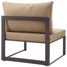 Fortuna Armless Outdoor Patio Sofa in Brown Mocha