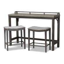 See Details - Baxton Studio Noll Modern and Contemporary Grey Fabric Upholstered 3-Piece Multipurpose Metal Counter Table Set