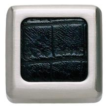 Paradigm Square Knob 1 1/4 Inch - BN & Black Croc Leather