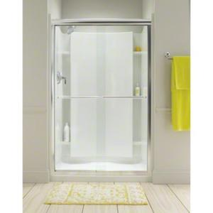"""Finesse™ Sliding Shower Door with Quick Install™ Technology - Height 70-5/16"""", Max. Opening 57-1/2"""" - Deep Bronze with Lake Mist Glass Pattern Product Image"""