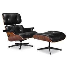 Eames Lounge Chair & Ottoman - Full Grain Italian Aniline Leather in Rosewood - Reproduction - Black