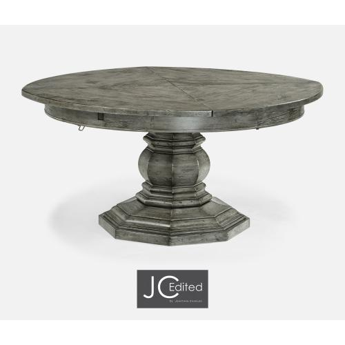 """59"""" Antique Dark Grey Circular Dining Table with Self-Storing Leaves"""