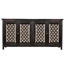 DEVON SIDEBOARD  Black Finish on Mango Wood with Macrame Doors  4 Door