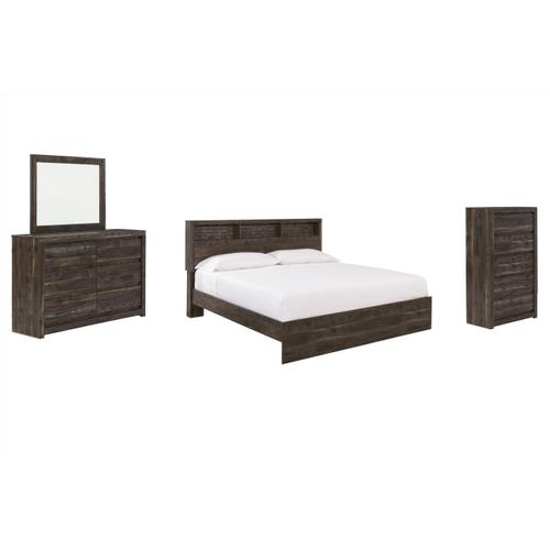 Ashley - King Bookcase Panel Bed With Mirrored Dresser and Chest