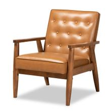 See Details - Baxton Studio Sorrento Mid-Century Modern Tan Faux Leather Upholstered and Walnut Brown Finished Wood Lounge Chair