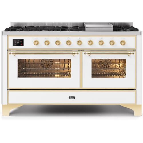 Majestic II 60 Inch Dual Fuel Natural Gas Freestanding Range in White with Brass Trim