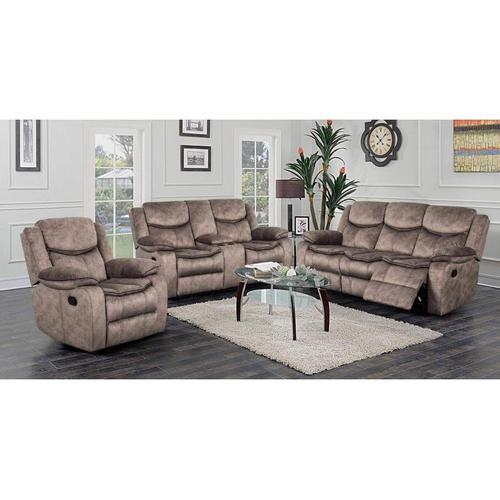 Logan Brown Reclining Sofa, Console Loveseat & Chair, M6627