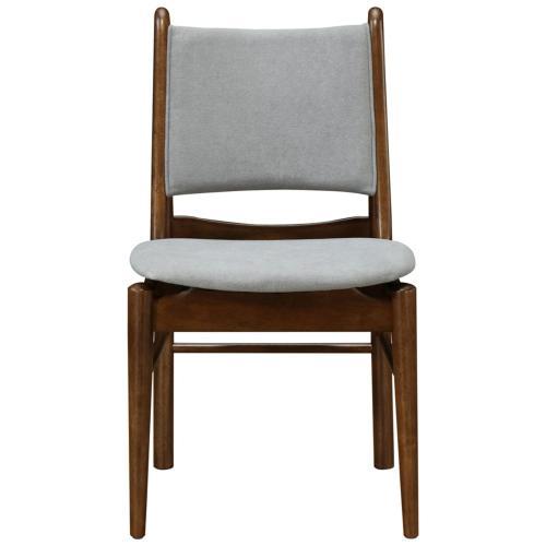 Wembley KD Fabric Dining Side Chair Dark Walnut Frame, Studio Gray