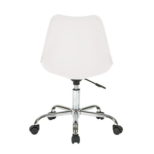 Emerson Student Office Chair With Pneumatic Chrome Base In White Finish