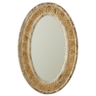 Distressed Ivory & Gold Carved Oval Wall Mirror Product Image