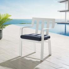 Baxley Stackable Outdoor Patio Aluminum Dining Armchair in White Navy