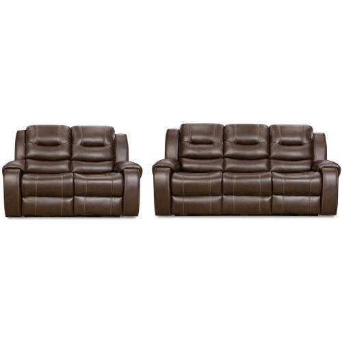 Cambridge Clark Two Piece Living Room Set in Umber: Sofa, Loveseat, 98503A2PC-UM