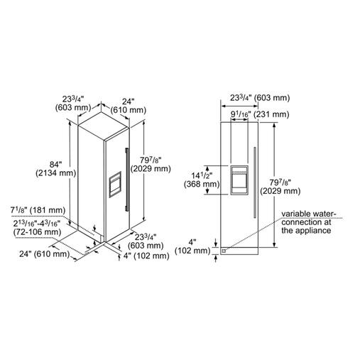 24-Inch Built-in Panel Ready Freezer Column with Ice & Water Dispenser, Left Side Door Swing.
