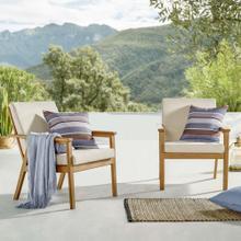 Vero Outdoor Patio Ash Wood Armchair Set of 2 in Natural Beige