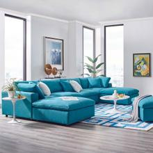 Commix Down Filled Overstuffed 6 Piece Sectional Sofa Set in Teal