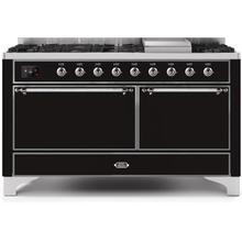 Majestic II 60 Inch Dual Fuel Natural Gas Freestanding Range in Glossy Black with Chrome Trim