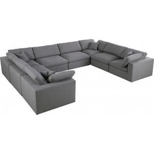 """Meridian Furniture - Serene Linen Deluxe Cloud Modular Down Filled Overstuffed Sectional - 158"""" W x 120"""" D x 32"""" H"""