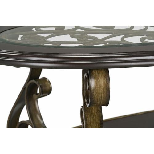 Standard Furniture - Bombay Oval Cocktail Table with Glass Top, Brown
