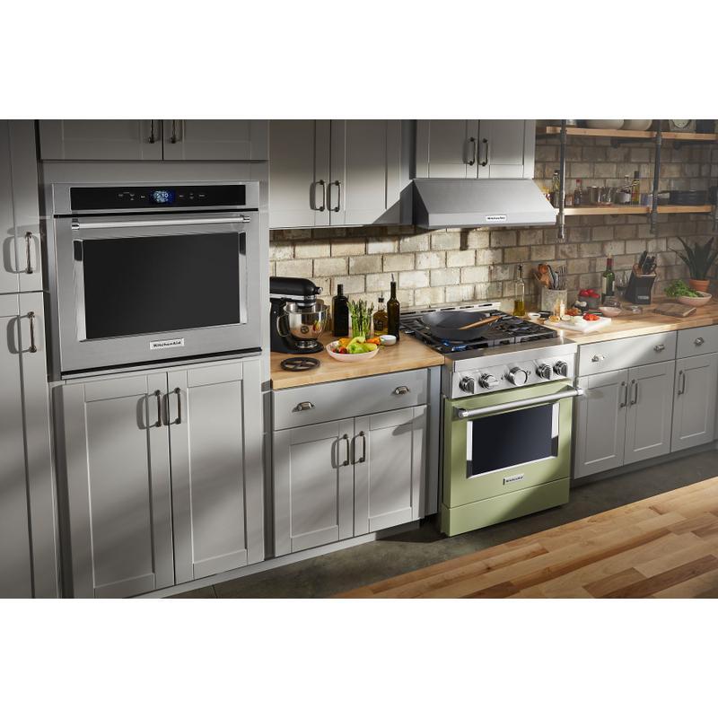 KitchenAid® 30'' Smart Commercial-Style Gas Range with 4 Burners - Avocado Cream