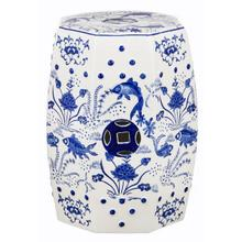 See Details - Cloud 9 Chinoiserie Garden Stool - Blue