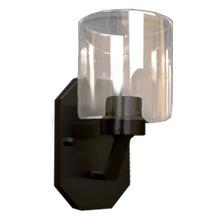Paris 1-Light Vanity/Sconce- Matte Black Finish- Clear Cylinder Glass