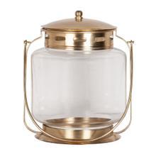 Jara Round Candle Holder, Antique Brass