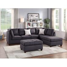 Elroy 3pc Sectional Sofa Set, Ebony Microfiber