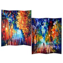 See Details - 4-Panel Double Sided Painted Canvas Room Divider Screen Night Street