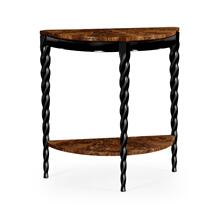 Black Barleytwist Demilune Console Table