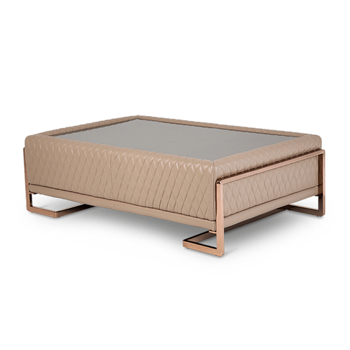 Gianna Leather Cocktail TableBase in Peach RoseGold