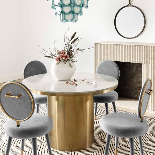 Tov Furniture - Kylie Light Grey Velvet Dining Chair