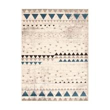 Step One - Geometric Triangles Area Rug, Beige and Blue, 5' x 7'