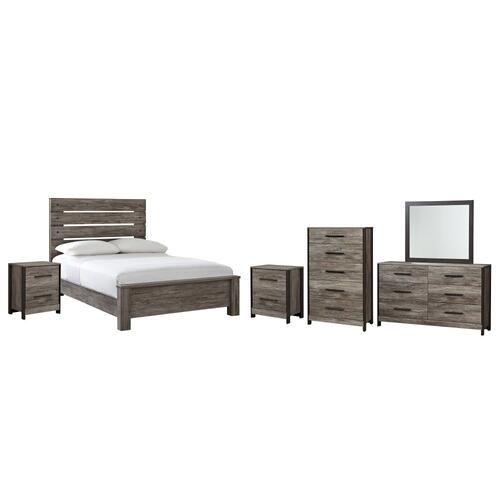 Ashley - Full Panel Bed With Mirrored Dresser, Chest and 2 Nightstands