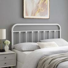 Sage Queen Metal Headboard in White