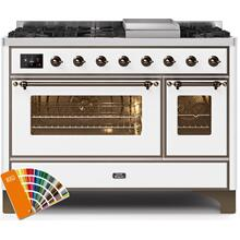 Majestic II 48 Inch Dual Fuel Liquid Propane Freestanding Range in Custom RAL Color with Bronze Trim